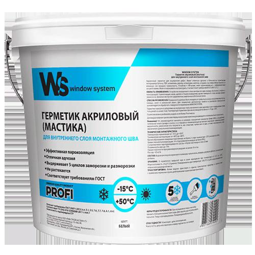 Герметик акриловый (мастика) для внутреннего шва, белый, ведро 7 кг, WS