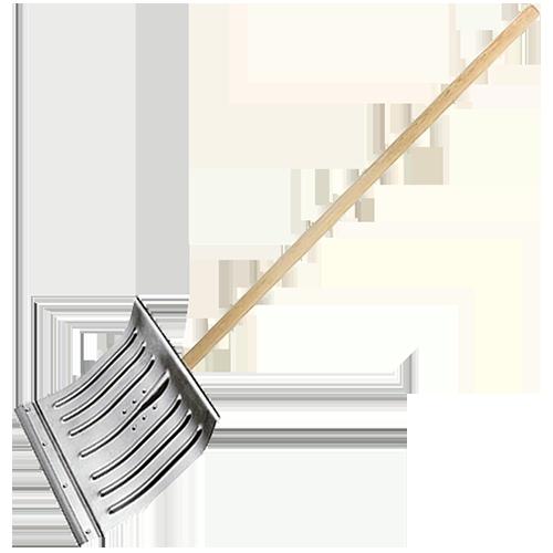 Лопата снеговая 430х370 мм, алюмин. с стальн. окантовкой, с черенком, 61582, СИБРТЕХ